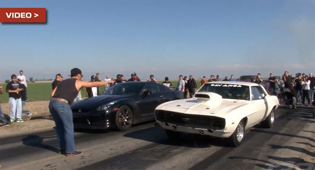 COOL: Nissan GT-R tunat versus All-American Muscle